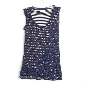 Meadow rue striped lace sleeveless double layer XS